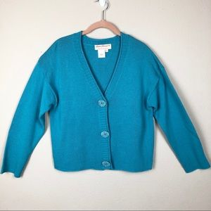 Norm Thomson Teal Cardigan Sweater XL